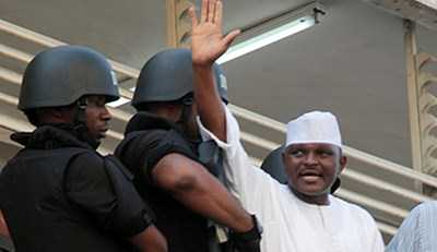 Al-Mustapha the Former CSO to Late Gen.Abacha waving to the Crowd