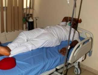 Hon. Chidi Lloyds in hospital the evening after the attack